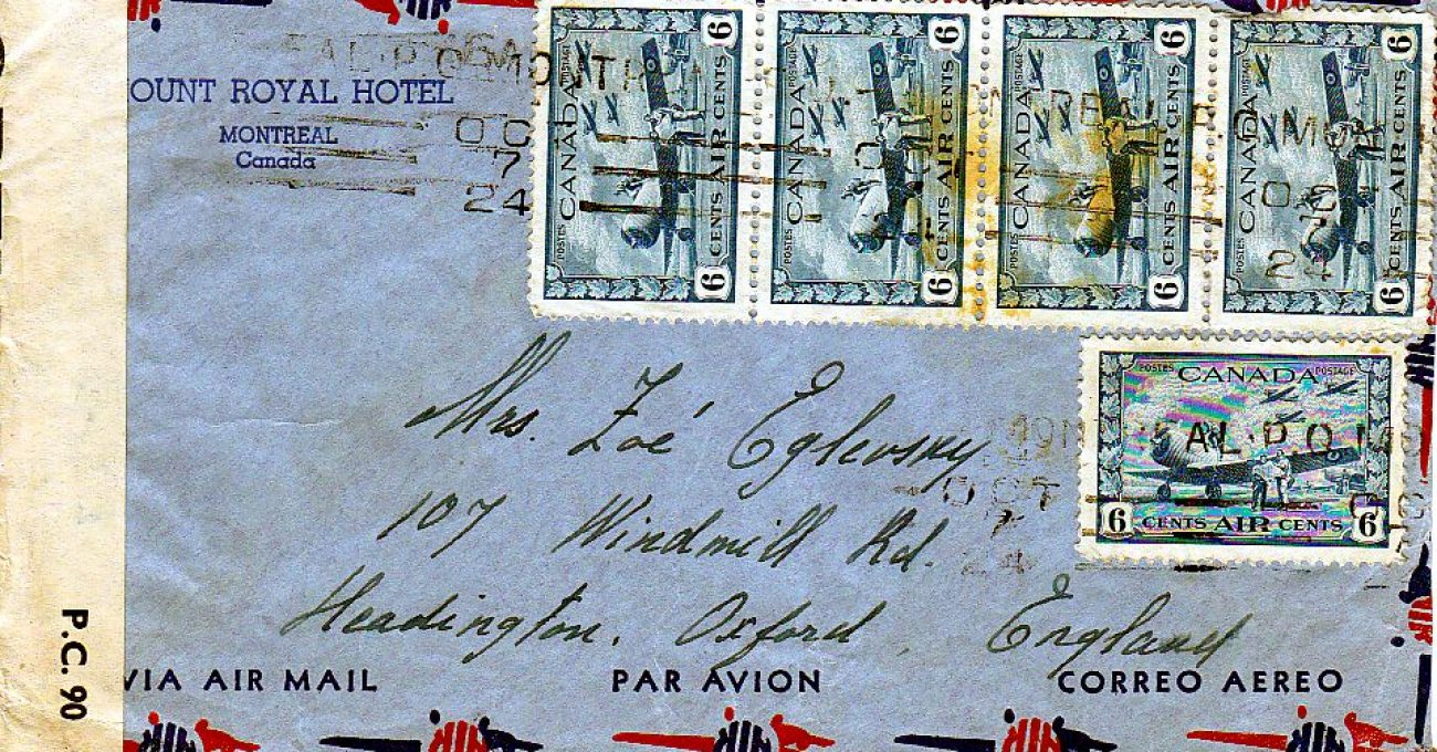 6c BCATP Airmail-Montreal-England-30c rate-1944